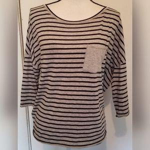 Calvin Klein Black Gray Activewear Striped Top